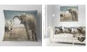 "Design Art Designart Sexy Lady With Elephant Animal Throw Pillow - 18"" X 18"""