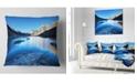 "Design Art Designart Amazing Blue Mountains Lake Modern Landscape Printed Throw Pillow - 16"" X 16"""
