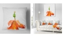 "Design Art Designart Rose Flower Stem With Shed Petals Floral Throw Pillow - 18"" X 18"""