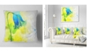 "Design Art Designart Blue Flower With Yellow Splashes Floral Throw Pillow - 16"" X 16"""