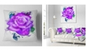 "Design Art Designart Hand Made Purple Rose Watercolor Floral Throw Pillow - 18"" X 18"""