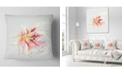 """Design Art Designart Pink Yellow Lily Watercolor Sketch Flowers Throw Pillowwork - 18"""" X 18"""""""
