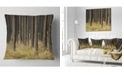 "Design Art Designart Dark Fall Forest With Green Grass Modern Forest Throw Pillow - 18"" X 18"""