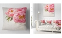 """Design Art Designart Peony Flowers In Vase Photography Floral Throw Pillow - 18"""" X 18"""""""