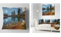 """Design Art Designart Clear Lake With Row Of Pine Trees Landscape Printed Throw Pillow - 18"""" X 18"""""""