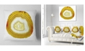 """Design Art Designart Yellow Agate With Geological Crystal Abstract Throw Pillow - 18"""" X 18"""""""