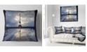 "Design Art Designart Reflection Of Paris Eiffel Towerwith Clouds Throw Pillow - 18"" X 18"""