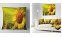 "Design Art Designart Tuscany Sunflowers On Green Floral Throw Pillow - 18"" X 18"""