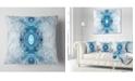 """Design Art Designart Light Blue Fractal Pattern Abstract Throw Pillow - 18"""" X 18"""""""