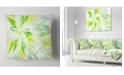 """Design Art Designart Light Green Fractal Spiral Flower Abstract Throw Pillow - 18"""" X 18"""""""