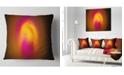 "Design Art Designart Yellow Pink Misty Sphere On Black Abstract Throw Pillow - 18"" X 18"""