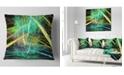 """Design Art Designart Green Yellow Magical Fractal Pattern Abstract Throw Pillow - 16"""" X 16"""""""