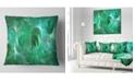 """Design Art Designart Green Fractal Glass Texture Abstract Throw Pillow - 16"""" X 16"""""""