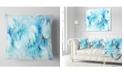 """Design Art Designart Blue White Fractal Glass Texture Abstract Throw Pillow - 16"""" X 16"""""""