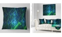 "Design Art Designart Green Blue Electric Lightning Abstract Throw Pillow - 18"" X 18"""