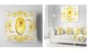 "Design Art Designart Yellow Exotic Pattern On White Abstract Throw Pillow - 18"" X 18"""