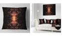 "Design Art Designart Brown Butterfly Pattern On Black Abstract Throw Pillow - 18"" X 18"""