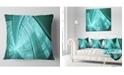 "Design Art Designart Blue Fractal Stained Glass Abstract Throw Pillow - 16"" X 16"""