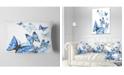 """Design Art Designart Watercolor Butterflies On White Floral Throw Pillow - 12"""" X 20"""""""