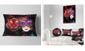 """Design Art Designart Tiger And Woman Colorful Faces Abstract Throw Pillow - 12"""" X 20"""""""