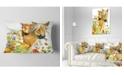 """Design Art Designart Horse And Foal With Flowers Animal Throw Pillow - 12"""" X 20"""""""