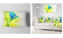 "Design Art Designart Blue Flower With Yellow Splashes Floral Throw Pillow - 12"" X 20"""