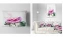 "Design Art Designart Pink Rose Stem With Paint Splashes Floral Throw Pillow - 12"" X 20"""