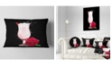 "Design Art Designart Strawberry Cocktail And Red Rose Floral Throw Pillow - 12"" X 20"""