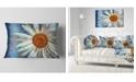 "Design Art Designart Hand Drawn White Chamomile Flower Flower Throw Pillow - 12"" X 20"""