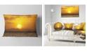 "Design Art Designart Yellow Sunset And Brown Ocean Seashore Throw Pillow - 12"" X 20"""