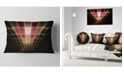 "Design Art Designart Pink On Black Laser Protective Grids Abstract Throw Pillow - 12"" X 20"""