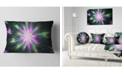 """Design Art Designart Green Fractal Shining Bright Star Abstract Throw Pillow - 12"""" X 20"""""""