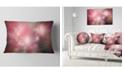 "Design Art Designart Red Blur Sky With Stars Abstract Throw Pillow - 12"" X 20"""