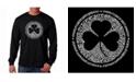 LA Pop Art Men's Word Art Long Sleeve T-Shirt- Irish Eyes Clover