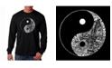LA Pop Art Men's Word Art Long Sleeve T-Shirt- Yin Yang