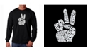 LA Pop Art Men's Word Art Long Sleeve T-Shirt - Peace Fingers