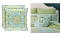 "J Queen New York Avalon Green 18"" Square Decorative Throw Pillow"