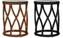 David Francis Furniture Madison Rattan Indoor End Table with Glass
