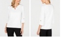 JM Collection Petite Key Hole Textured Top, Creaded For Macys