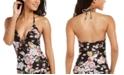 RACHEL Rachel Roy Cherry Blossom Floral Printed Halter Tankini Top