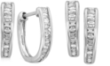 EFFY Collection EFFY® Diamond Baguette Hoop Earrings (1/2 ct. t.w.) in 14k White Gold