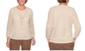 Alfred Dunner Petite Walnut Grove Open-Knit Sweater