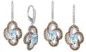 Le Vian Sea Blue Aquamarine® (2 ct. t.w.), Nude Diamonds™ (5/8 ct. t.w.) & Chocolate Diamonds® (5/8 ct. t.w.) Drop Earrings In 14k White Gold
