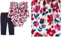Carter's Baby Girls 2-Pc. Floral-Print Ruffled Bodysuit & Pants Set
