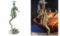 Vagabond House Pewter Seahorse Candlestick Holder Tall Centerpiece Display