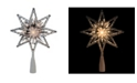 """Northlight 8"""" Retro Silver Tinsel 8-Point Star Christmas Tree Topper - Clear Lights"""