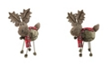 """Northlight 15.75"""" Brown Elk with Red and Black Plaid Scarf Christmas Decoration"""