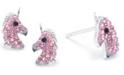 Macy's Pink Pave Crystal Unicorn Stud Earrings set in Sterling Silver