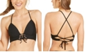 Hula Honey Juniors' Rhythm Rib Solid Lace-Up Push-Up Bikini Top, Available in D/DD, Created For Macy's