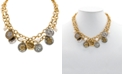"""Patricia Nash Two-Tone World Coin & Freshwater Pearl (9mm) 18"""" Double-Row Statement Necklace"""